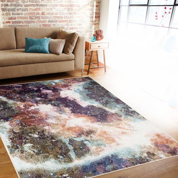 Distressed Abstract Multi-colored Indoor Area Rug (7'10 x 10'2) - 7'10 x 10'2