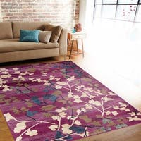 Contemporary Floral Purple Indoor Area Rug (7'10 x 10'2) - 7'10 x 10'2