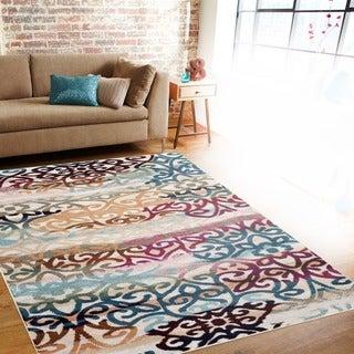 Distressed Geometric Multi-colored Indoor Area Rug (5'3 x 7'3)