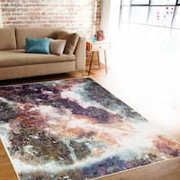 Distressed Abstract Multi-colored Indoor Area Rug - 5'3 x 7'3