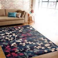 Contemporary Floral Navy Indoor Area Rug (5'3 x 7'3) - 5'3 x 7'3