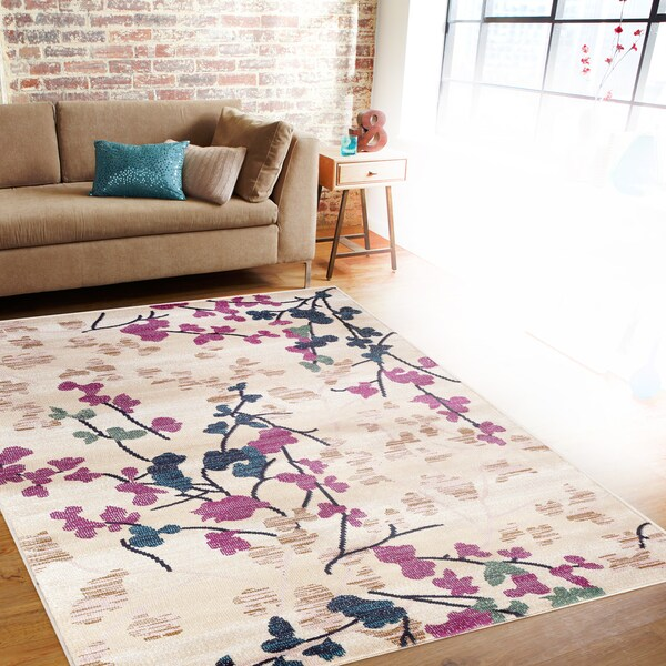 Contemporary floral cream indoor area rug 5 39 3 x 7 39 3 for Plum and cream rug