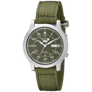 Seiko Men's Automatic Green Dial Green Canvas Watch