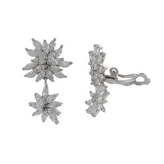 Luxiro Sterling Silver Cubic Zirconia Cluster Dangle Clip-on Earrings