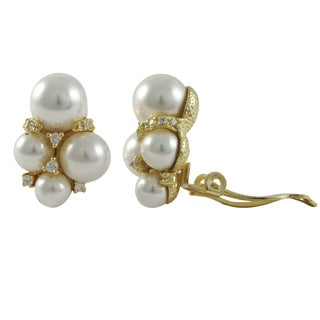 Luxiro Sterling Silver Gold Finish Shell Pearls Cubic Zirconia Cluster Clip-on Earrings