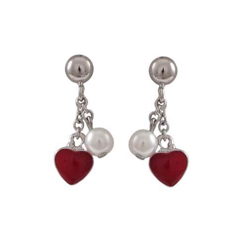 Luxiro Sterling Silver Faux Pearl and Enamel Heart Dangle Earrings