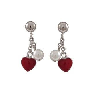Luxiro Sterling Silver Faux Pearl and Enamel Heart Dangle Earrings