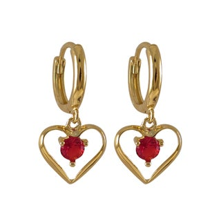 Luxiro Sterling Silver Gold Finish Red Cubic Zirconia Heart Dangle Earrings