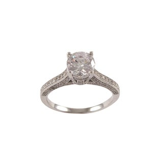 Luxiro Sterling Silver Micropave Cubic Zirconia Solitaire Ring