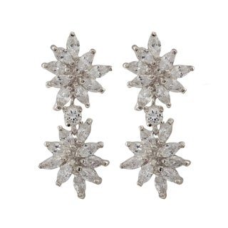 Luxiro Sterling Silver Marquise Cubic Zirconia Cluster Dangle Earrings