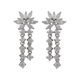 Luxiro Sterling Silver Marquise Cubic Zirconia Cluster Drop Earrings