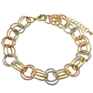 Luxiro Gold Finish Tri-color Linked Circles Bracelet https://ak1.ostkcdn.com/images/products/10341561/P17450828.jpg?impolicy=medium
