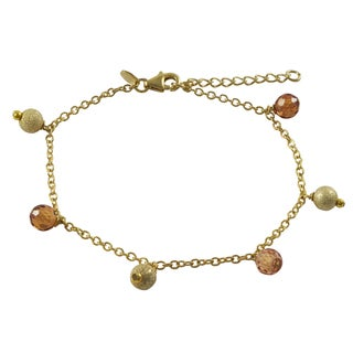 Luxiro Sterling Silver Gold Finish Cubic Zirconia Faceted Balls Bracelet