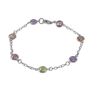 Luxiro Sterling Silver Multi-color Cubic Zirconia Bracelet