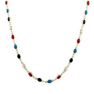 Luxiro Gold Finish Multi-color Enamel Oval Link Necklace - Red
