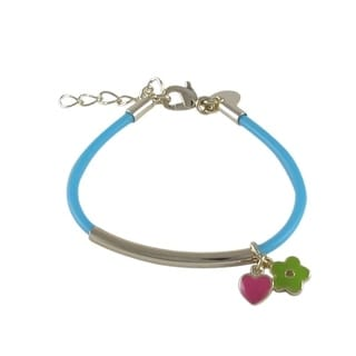 Luxiro Gold Finish Children's Enamel Flower Heart Jelly Charm Bracelet