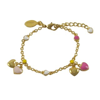 Luxiro Gold Finish Children's Multi Color Enamel Heart Charm Bracelet