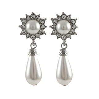 Luxiro Rhodium Finish Faux Pearl and Crystals Teardrop Dangle Earrings