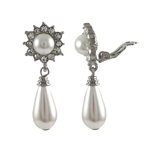 Luxiro Rhodium Finish Faux Pearl and Crystals Teardrop Clip-on Earrings - Silver