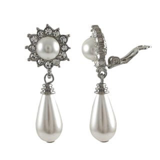 Luxiro Rhodium Finish Faux Pearl and Crystals Teardrop Clip-on Earrings