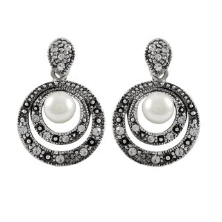 Luxiro Rhodium and Black Finish Faux Pearl and Crystals Circle Dangle Earrings