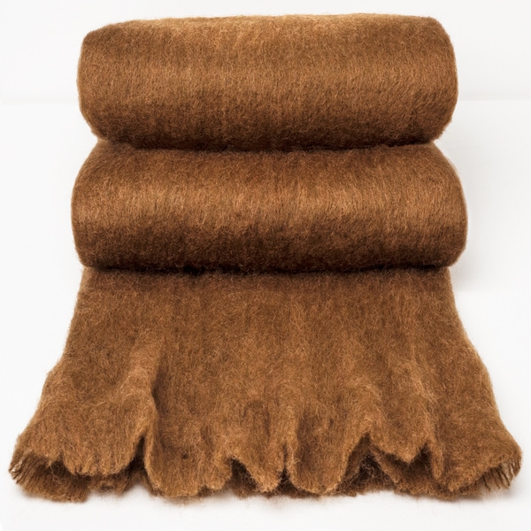 Chauran Katri Cognac Handloomed Woven Mohair Throw with Fray Border