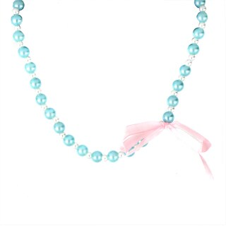 Crummy Bunny Blue and White Pearl Ribbon Bow Necklace