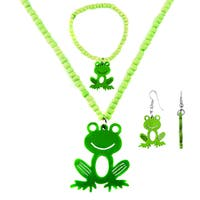 Crummy Bunny Girls' Green Frog Jewelry Set Necklace, Bracelet, and Earrings