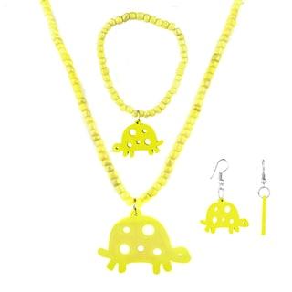Crummy Bunny Girls' Yellow Turtle Jewelry Set