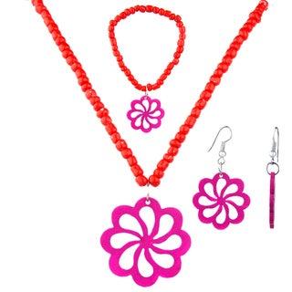 Crummy Bunny Girls' Red Flower Jewelry Set