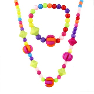 Crummy Bunny Girls' Colorful Charm Bead Necklace and Bracelet Jewelry Set