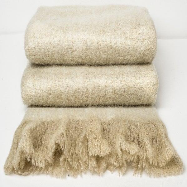 Chauran Katri Sand Handloom Woven Mohair Throw with Fray Border