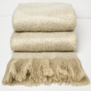 Chauran Katri Sand Handloom Woven Mohair Throw with Fray Border