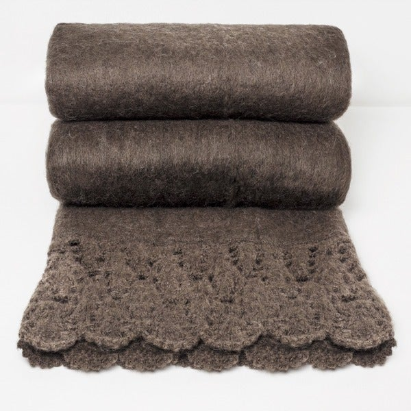 Chauran Karina Espresso Handloom Mohair Throw with Crochet Border