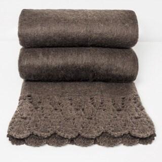Chauran Karina Espresso Handloom Mohair Throw with Crochet Border
