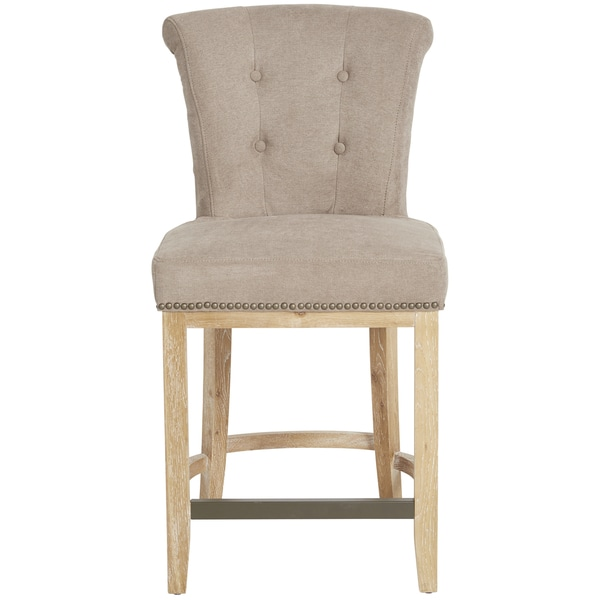Shop Handy Living Lexi Parisian Tan Grey Velvet 23 Inch Bar Stool