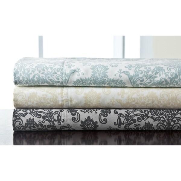 300 Thread Count Delano Damask Cotton Print Sheet Set