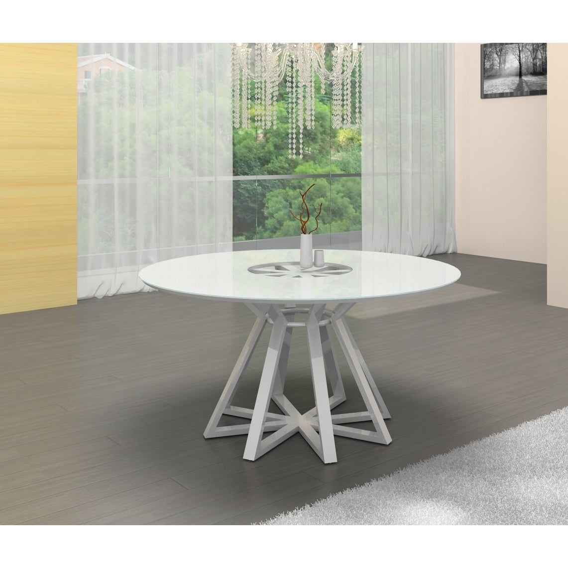 Casabianca Home Star Collection Metal/ Glass Round Dining...