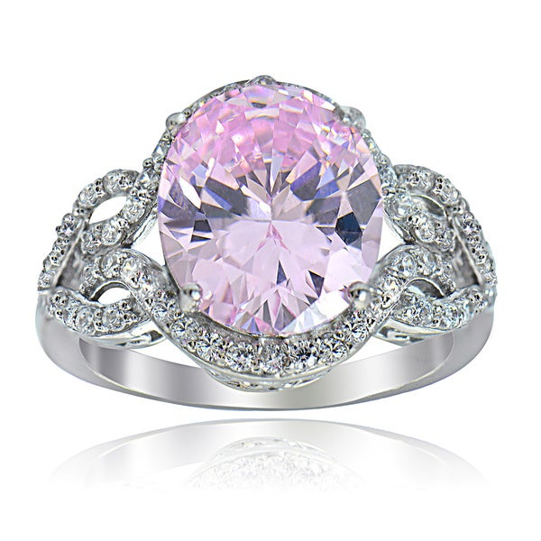 Icz Stones Sterling Silver Pink and White Cubic Zirconia Ring
