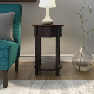 Porch & Den Wicker Park Damen Round Espresso End Table