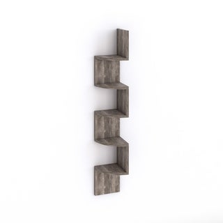Danya B Large Weathered Oak Laminate Corner Wall Mount Shelf