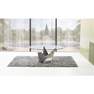 Casabianca Home Firenze Collection Metal/ Glass Round Dining Table