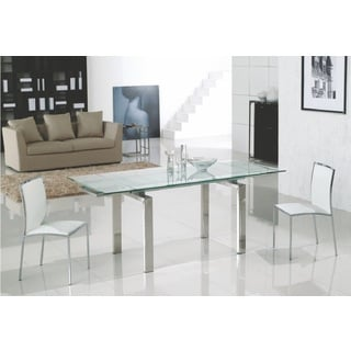 Casabianca Home Frosty Collection Metal/ Glass Dining Table