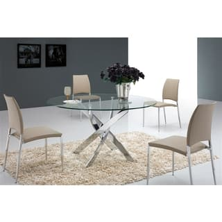 casabianca home galaxy collection metal and glass round dining table - Glass Round Dining Table And Chairs