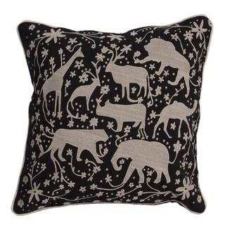 National Geographic Animal Pattern Jet Black/ Light Grey Cotton 20-inch Throw Pillow