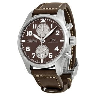 IWC Men's IW387806 'Pilots Antoine De Saint Exupery' Chronograph Automatic Brown Leather Watch|https://ak1.ostkcdn.com/images/products/10341863/P17451064.jpg?impolicy=medium