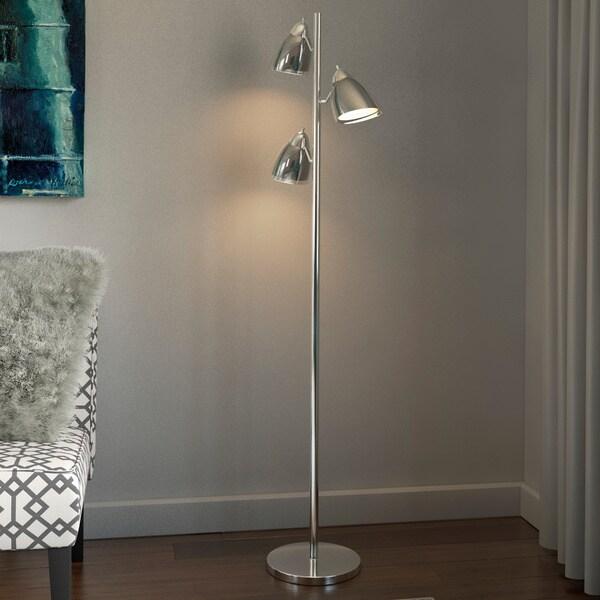Porch & Den North Loop Holden 3-light Floor Lamp in Smoke