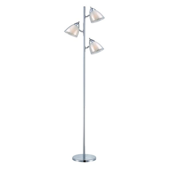 Lite Source Salika II 3-light Fluorescent Floor Lamp, White