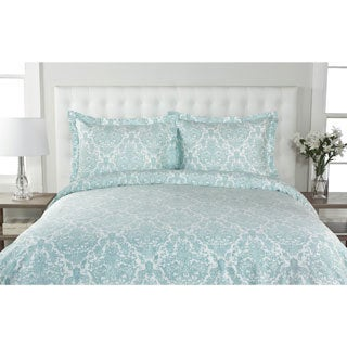 Delano Damask 300-Thread Count Cotton Duvet Cover Set (More options available)