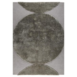 M.A.Trading Indian Hand Tufted Wool Rondo Silver Area Rug (5'6 x 7'10)